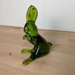 Art glass green bunny paperweight flawed